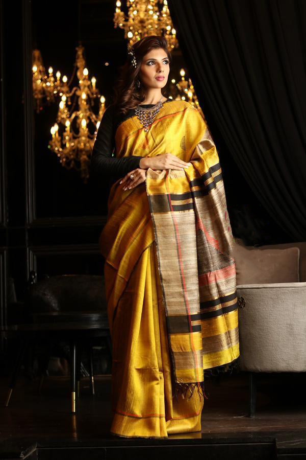 Yellow Handwoven Dupion Silk Sarees