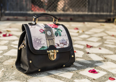 Black London Floral Sling Hand Bags