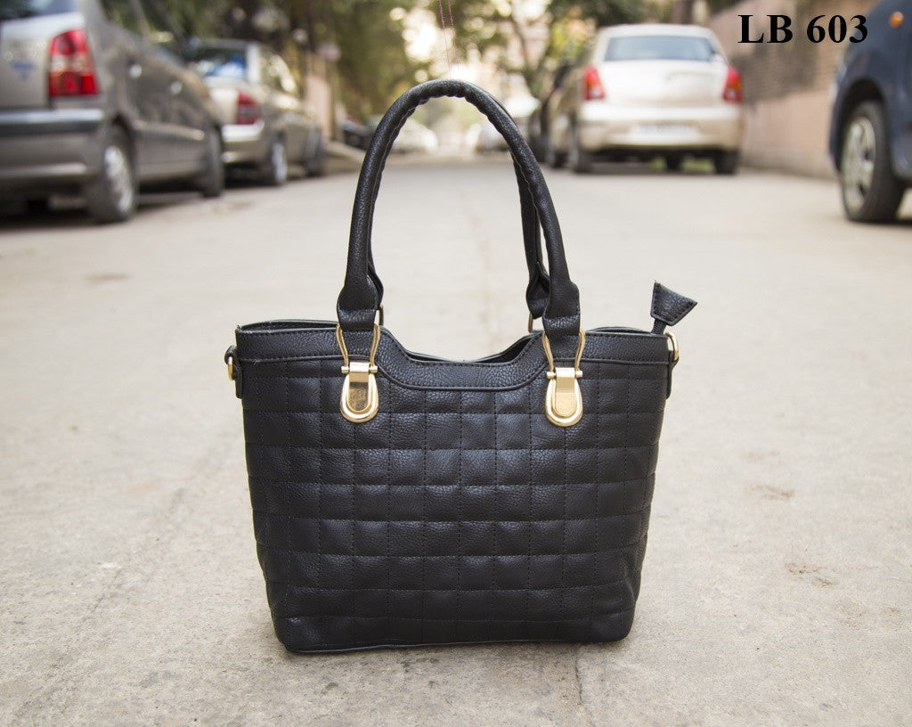 Black Glossy Square Handheld Hand Bags