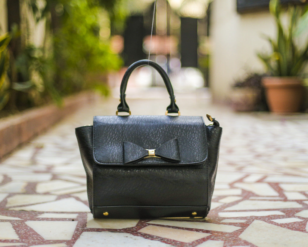 Black Bow Design Sling Hand Bags