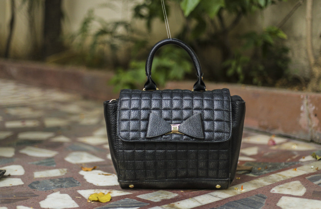 Black Bow Design Brick Sling Hand Bags