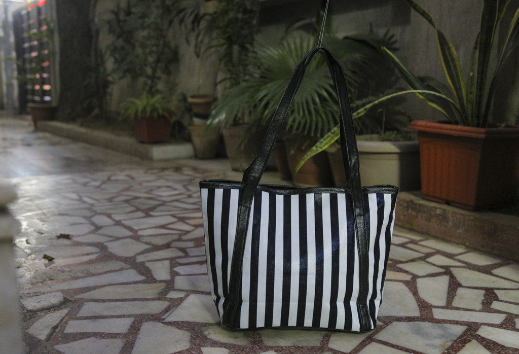 Black B/W Stripe Totes