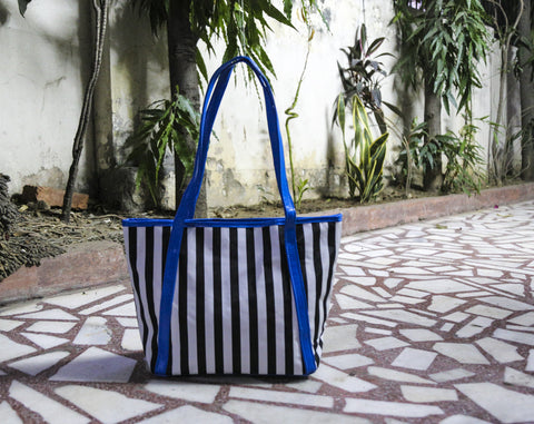 Blue B/W Stripe Totes
