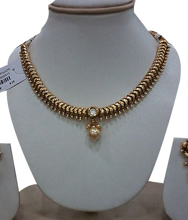 Beautiful Golden white stone and pearl necklace - Dailybuyys
