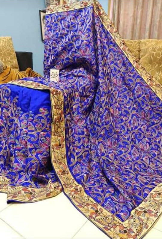 Blue Kantha Stitch Design Dupion Silk Sarees New Arrival