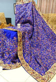 Blue Kantha Stitch Design Dupion Silk Sarees