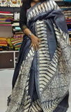 Grey Block Printed Pure Bishnupuri Silk Sarees