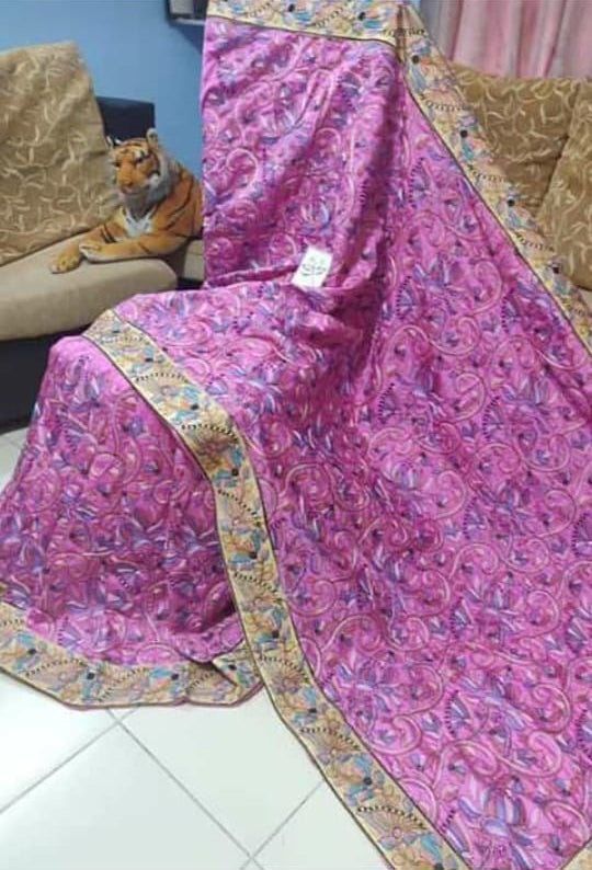 Purple Kantha Stitch Design Dupion Silk Sarees