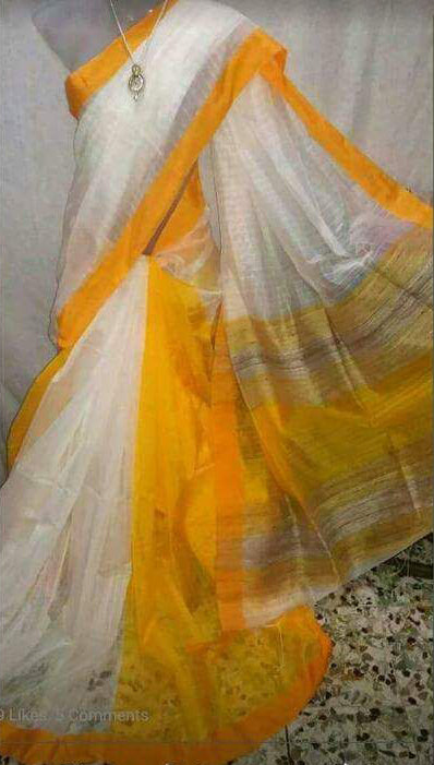 White Yellow Handloom Ghicha Sarees (Add to Cart Get 20% Extra Discount)