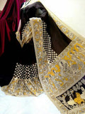 Black Golden Pure Tussar Silk Madhubani Sarees