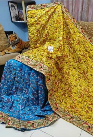 Yellow Blue Kantha Stitch Design Dupion Silk Sarees
