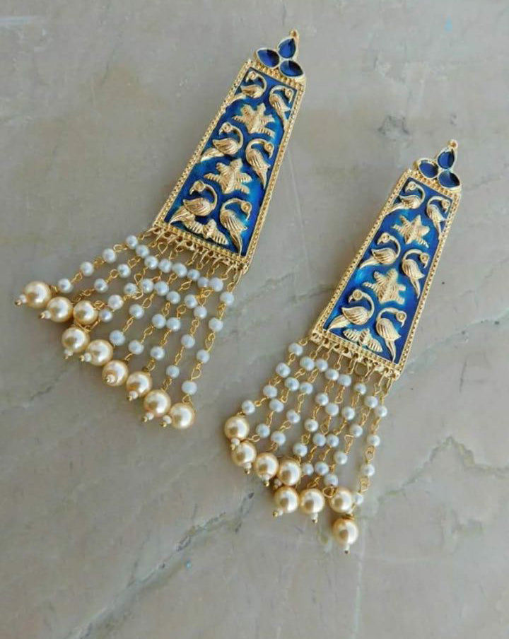 Blue Moti Earrings