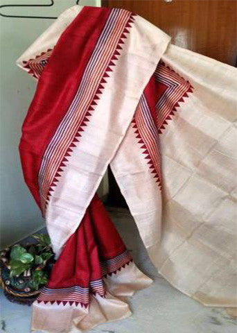 Red White Pure Murshidabad Silk Sarees (Add to Cart Get 15% Extra Discount)