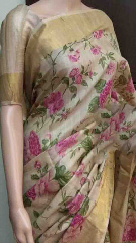 Beige Tussar Silk Madhubani Sarees (Add to Cart Get 20% Extra Discount)