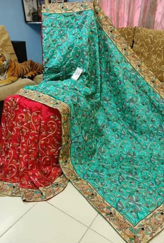 Green Red Kantha Stitch Design Dupion Silk Sarees
