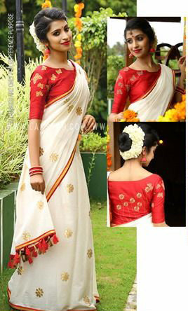Red White Chanderi Cotton Sarees