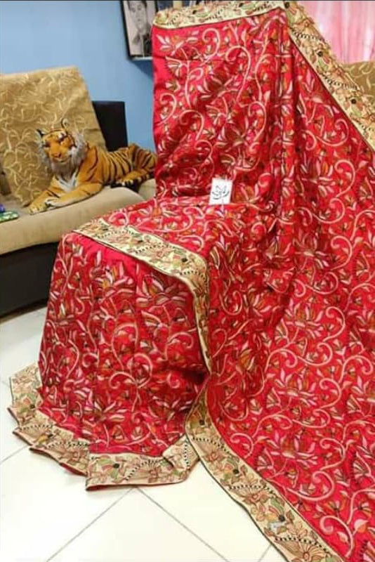 Red Kantha Stitch Design Dupion Silk Sarees