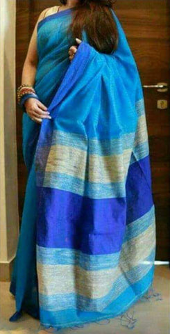 Blue Handloom Ghicha Sarees (Add to Cart Get 20% Extra Discount)
