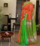 Orange Green Handloom Ghicha Sarees