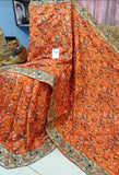 Orange Kantha Stitch Design Dupion Silk Sarees New Arrival