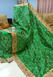 Green Kantha Stitch Design Dupion Silk Sarees New Arrival