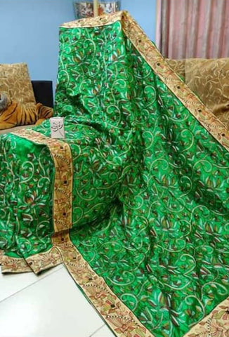 Green Kantha Stitch Design Dupion Silk Sarees