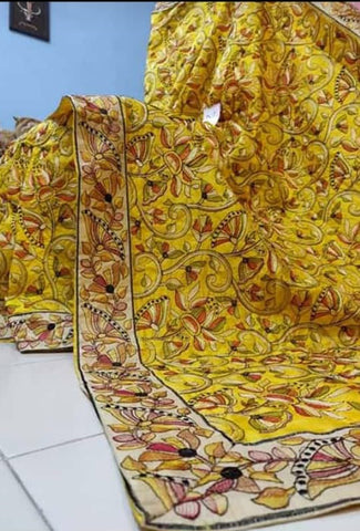 Yellow Kantha Stitch Design Dupion Silk Sarees