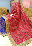 Red Blue Kantha Stitch Design Dupion Silk Sarees