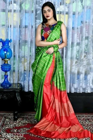 Green Red Cotton Silk Sarees