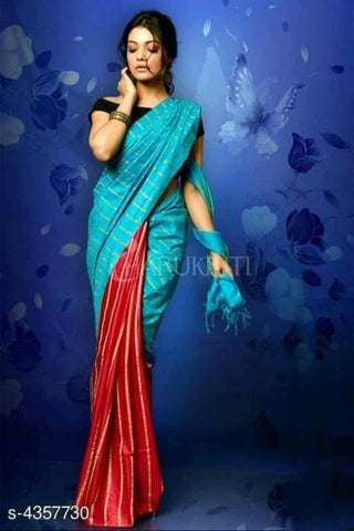 Blue Red Cotton Silk Sarees