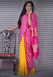 Purple Yellow Cotton Silk Sarees