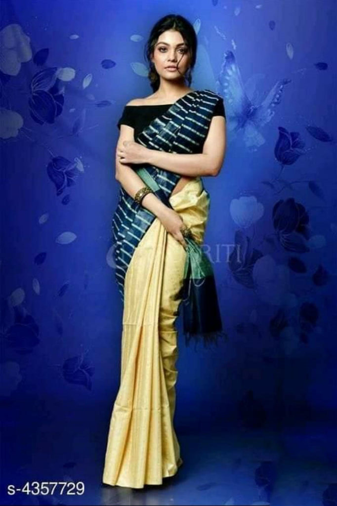 Beige Black Cotton Silk Sarees