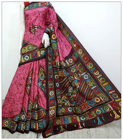 Multi Coloured Hand Embroidery Batik Hand Painted Kantha Stitch Saree
