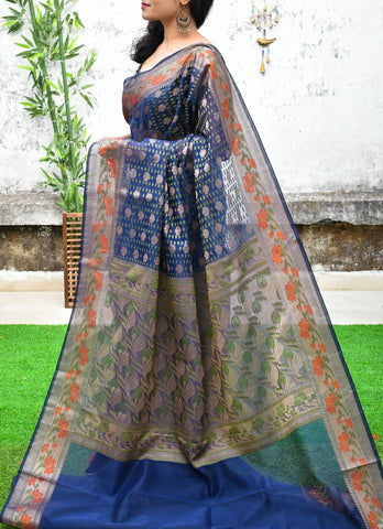 Blue & Golden Banarasi Silk Sarees (Add to Cart Get 15% Extra Discount)