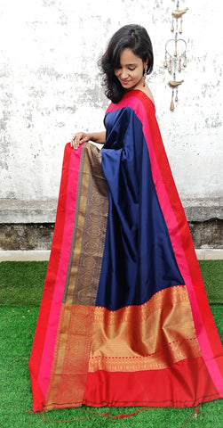 Blue & Golden Banarasi Silk Sarees (Add to Cart Get 20% Extra Discount)