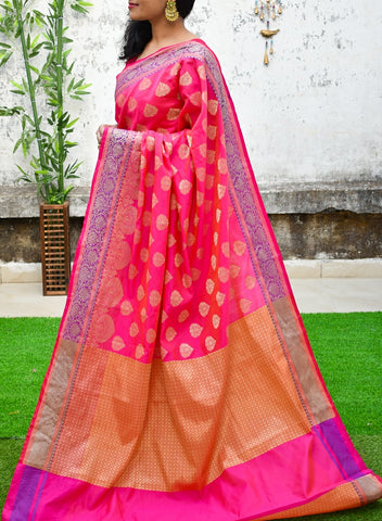 Yellow & Magenta Banarasi Silk Sarees (Add to Cart Get 15% Extra Discount)