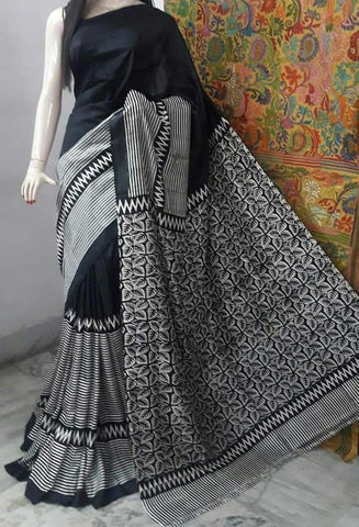 Grey Black Printed Pure Bishnupuri Silk Sarees
