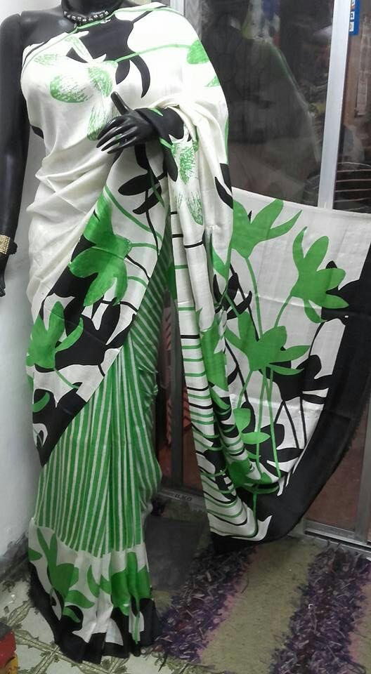 Green White Hand Painted Pure Bishnupuri Silk Sarees