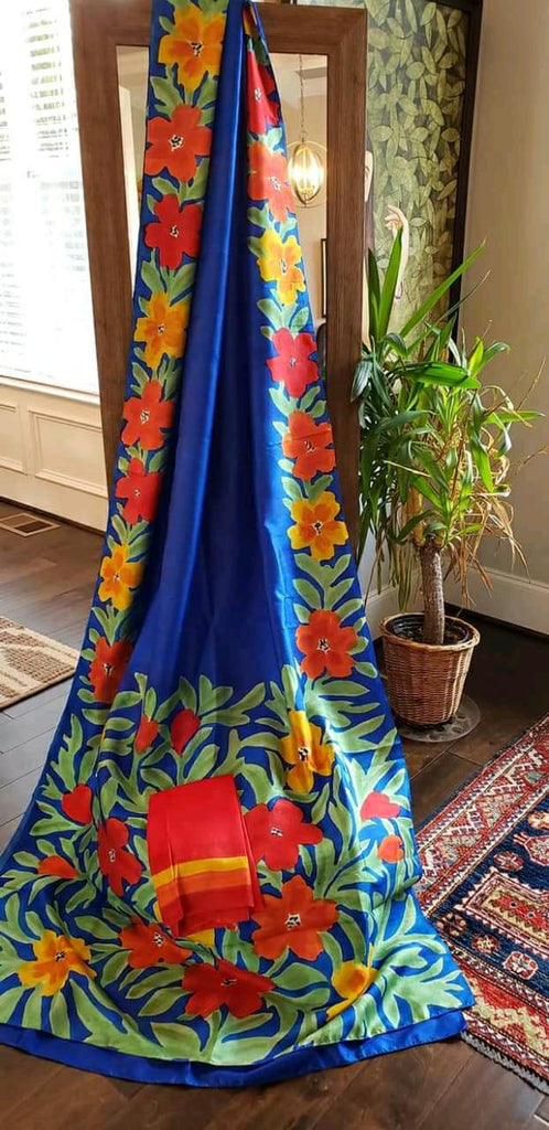 Blue Hand Painted Pure Bishnupuri Silk Sarees