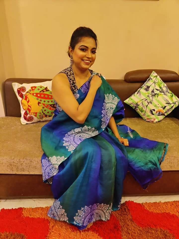 Blue Block Printed Pure Bishnupuri Silk Sarees