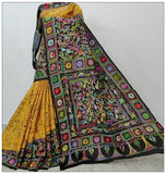 Multi Colored Hand Embroidery Batik Kantha Stitch Sarees (Add to Cart Get 15% Extra Discount)