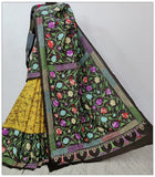 Multi Colored Hand Embroidery Batik Hand Painted Kantha Stitch Saree