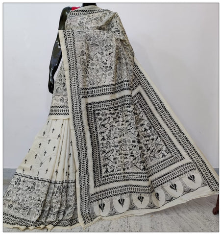 White Hand Embroidery Batik Hand Painted Kantha Stitch Saree