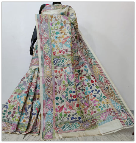 Multi Hand Embroidery Batik Hand Painted Kantha Stitch Saree