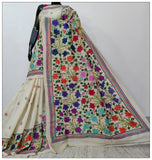 Cream Hand Embroidery Batik Hand Painted Kantha Stitch Saree