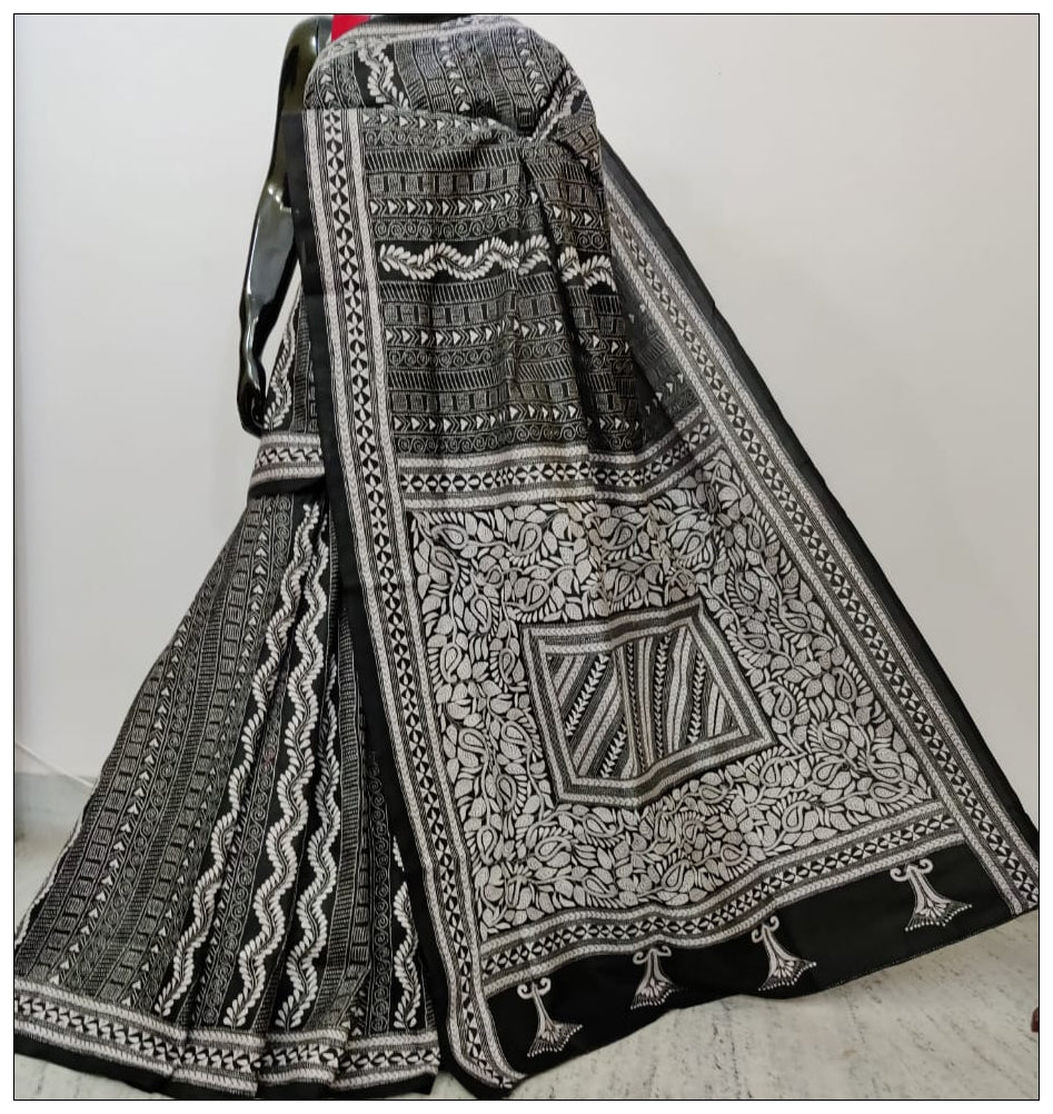 Pure Black & White Hand Embroidery Kantha Stitch Saree on Pure Bangalore Silk(Add to Cart Get 15% Extra Discount)