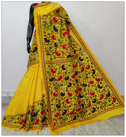 Pure Yellow Hand Embroidery Kantha Stitch Saree on Pure Bangalore Silk(Add to Cart Get 15% Extra Discount)