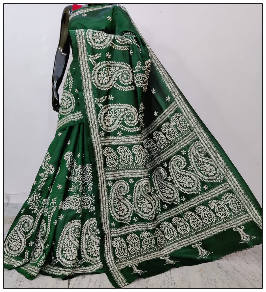 Deep Green Hand Embroidery Kantha Stitch Saree on Pure Bangalore Silk(Add to Cart Get 15% Extra Discount)