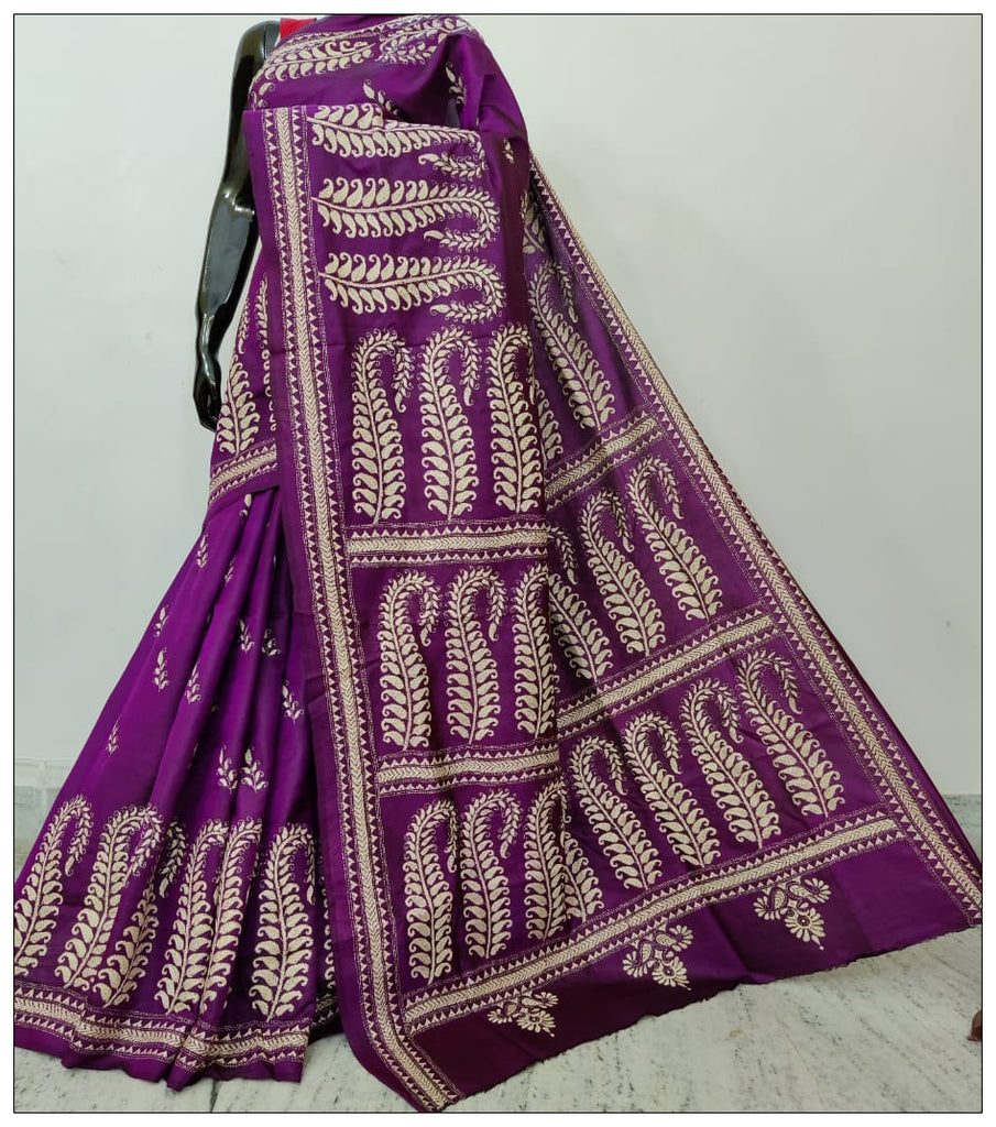 Purple Hand Embroidery Kantha Stitch Saree on Pure Bangalore Silk(Add to Cart Get 15% Extra Discount)
