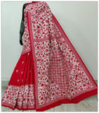 Red & White Hand Embroidery Kantha Stitch Saree on Pure Bangalore Silk(Add to Cart Get 15% Extra Discount)